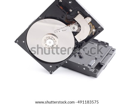 Hard disk drive with metal cover removed