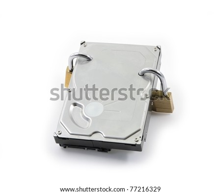 Hard disk front view with two locked padlocks on a white background - stock photo