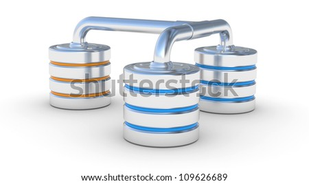 Hard disk icon, network database concept. 3d illustration on a white - stock photo