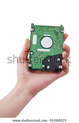 hard disk in hand isolated on a white background