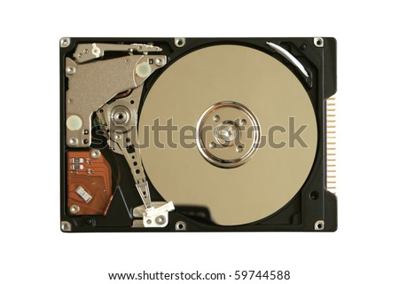 Hard disk isolated on the white background - stock photo