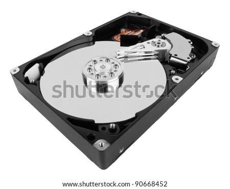 hard disk isolated on white background - stock photo