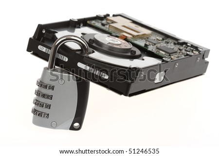 "Hard disk ""locked"" with a padlock. Useful to illustrate concepts like data security, data loss, cryptography.  Isolated on white. - stock photo"