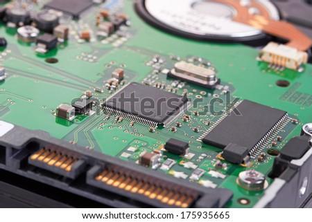 hard disk macro detail - stock photo