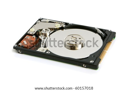Hard disk on a white background - stock photo