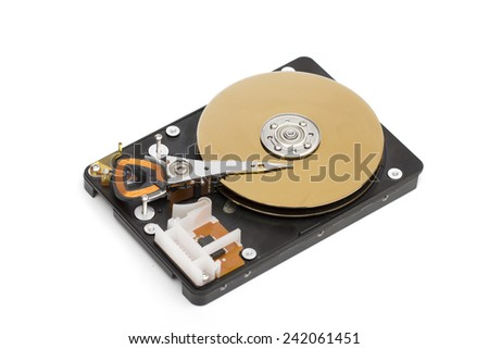 hard disk on the white background - stock photo