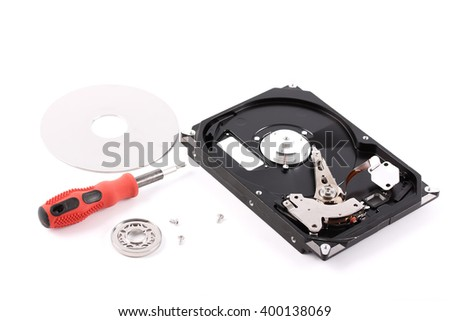 hard disk repaired on white - stock photo