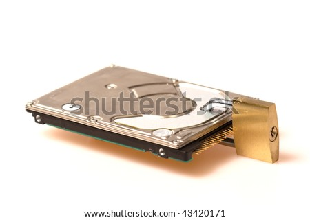 "Hard disk that is ""secured"" with a lock, illustrating protection against data loss and theft, or the inability to access one's data for some reason. - stock photo"