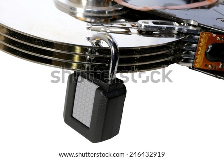hard disk with a padlock for security of computer data - stock photo