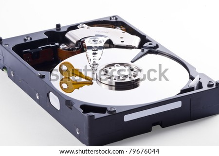 Hard Disk with Encrypted Data inside beeing accessed