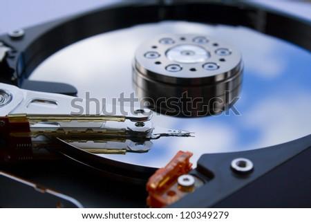 hard drive close up - stock photo