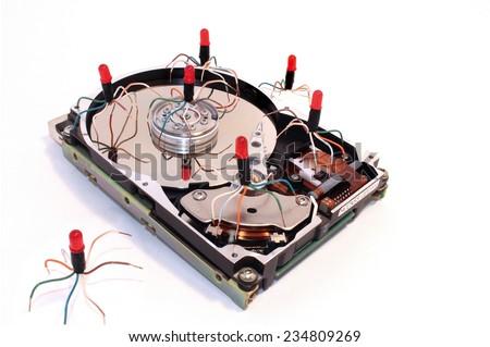 hard drive, disk, hard disk, virus error - stock photo