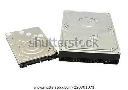 Hard drive isolated on white background - stock photo