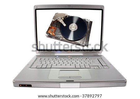Hard drive on laptop computer screen