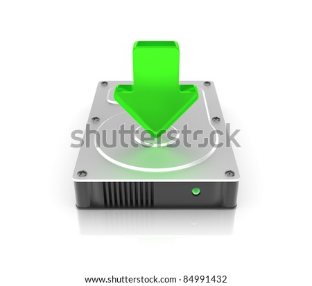 Hard drive on white background. Computer generated image. - stock photo