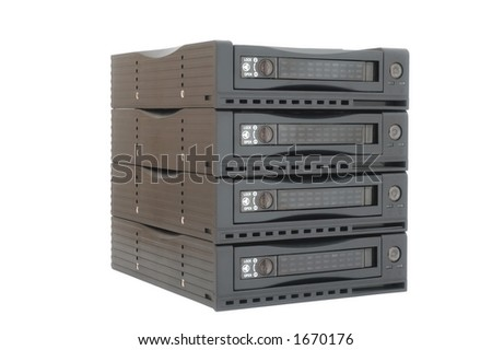Hard drive racks on angle - stock photo