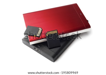 Hard drive Red Black SD card files storage isolated on white - stock photo