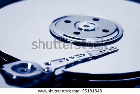 hard drive toned blue - stock photo
