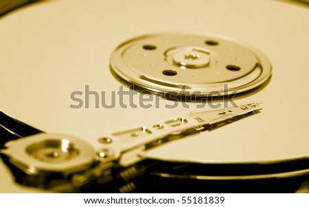 hard drive toned gold - stock photo
