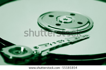 hard drive toned green - stock photo