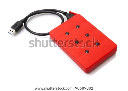 Hard drive USB 3.0. Red files storage isolated on white background - stock photo
