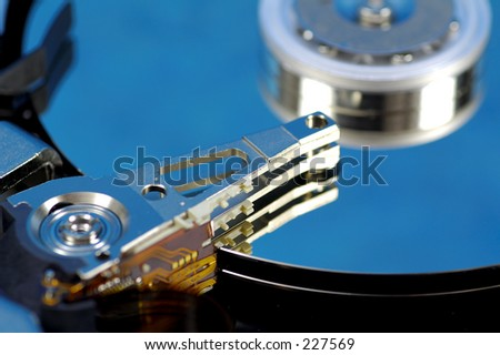 Hard Drive With Blue Reflection.