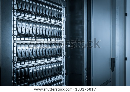 hard drives in data center - stock photo
