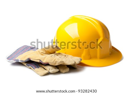 Hard Hat And Leather Gloves isolated on white - stock photo