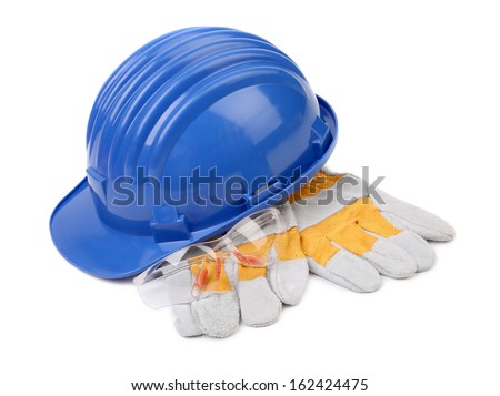 Hard hat gloves and glasses. Isolated on a white background. - stock photo