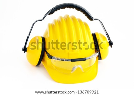 hard hat, goggles and ear muffs isolated on white