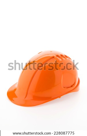 Hard hat isolated on white background - stock photo