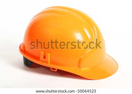 Hard hat isolated over white - stock photo