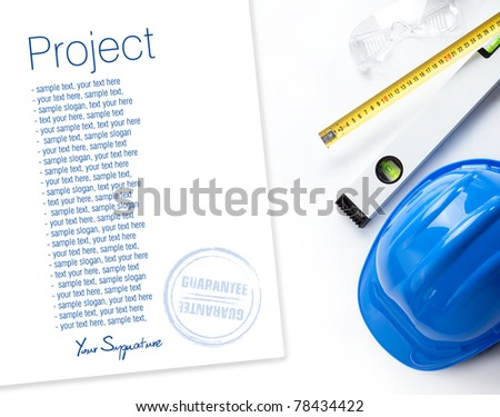 hard hat, level, protective gloves and measure isolated on white background. Space for text isolated on solid white - stock photo