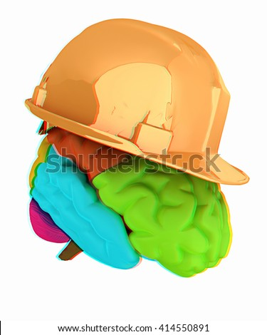 hard hat on brain. 3D illustration. Anaglyph. View with red/cyan glasses to see in 3D.