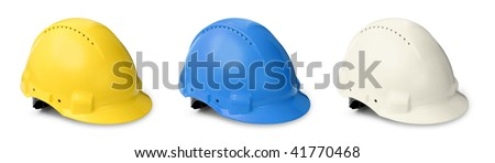 Hard hats color collection for worker engineer and visitor isolated on white - stock photo