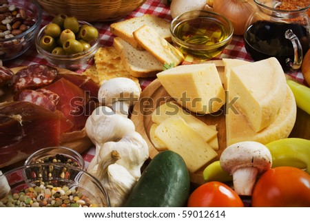 Hard italian cheese and other food ingredients - stock photo