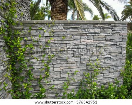 Hard Landscaping Slate Wall - stock photo