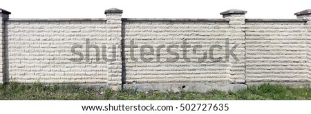 Hard long solid rural fence made from aged white  bricks. Isolated from top panoramic collage
