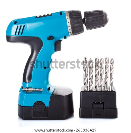 Hard metal tool bits collection with drill in white - stock photo