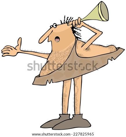 Hard of hearing caveman - stock photo