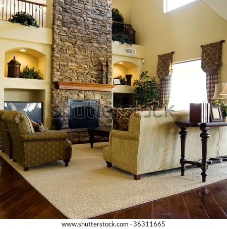 Hard wood flooring in living room area - stock photo