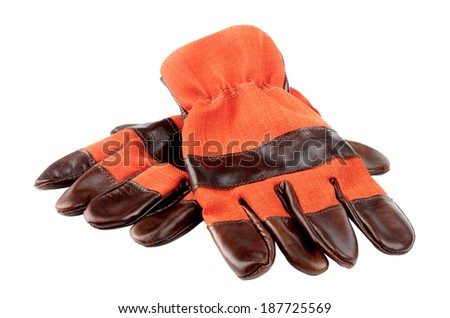 Hard work gloves isolated on white background