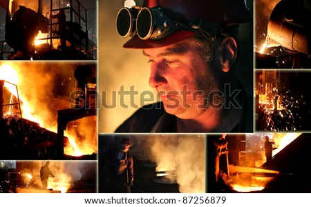 Hard work in the foundry - stock photo