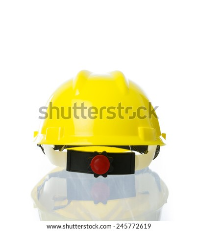 Hard yellow hat for industrial work, engineers, architect isolate on over white background - stock photo