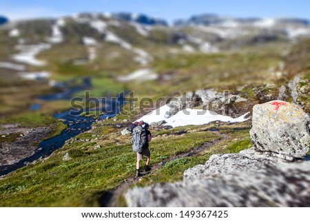 Hardangervidda Hiking in Norway - stock photo