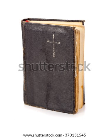 Hardcover prayer book on white background - stock photo