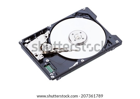 Harddisk drive (HDD) with top cover open isolated on white background
