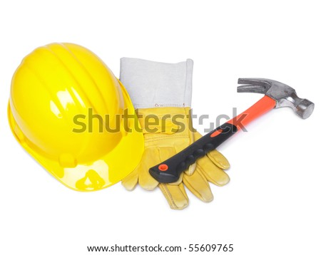 HardHat Hammer And Leather Gloves on white