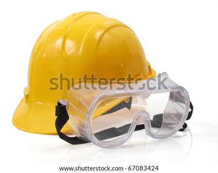 Hardhat with eye protection or goggles - stock photo