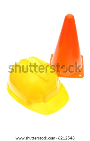 Hardhat with safety cone - stock photo
